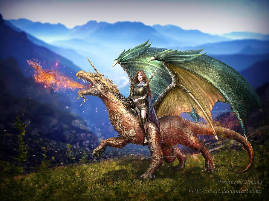 Dragon rider by qi-art