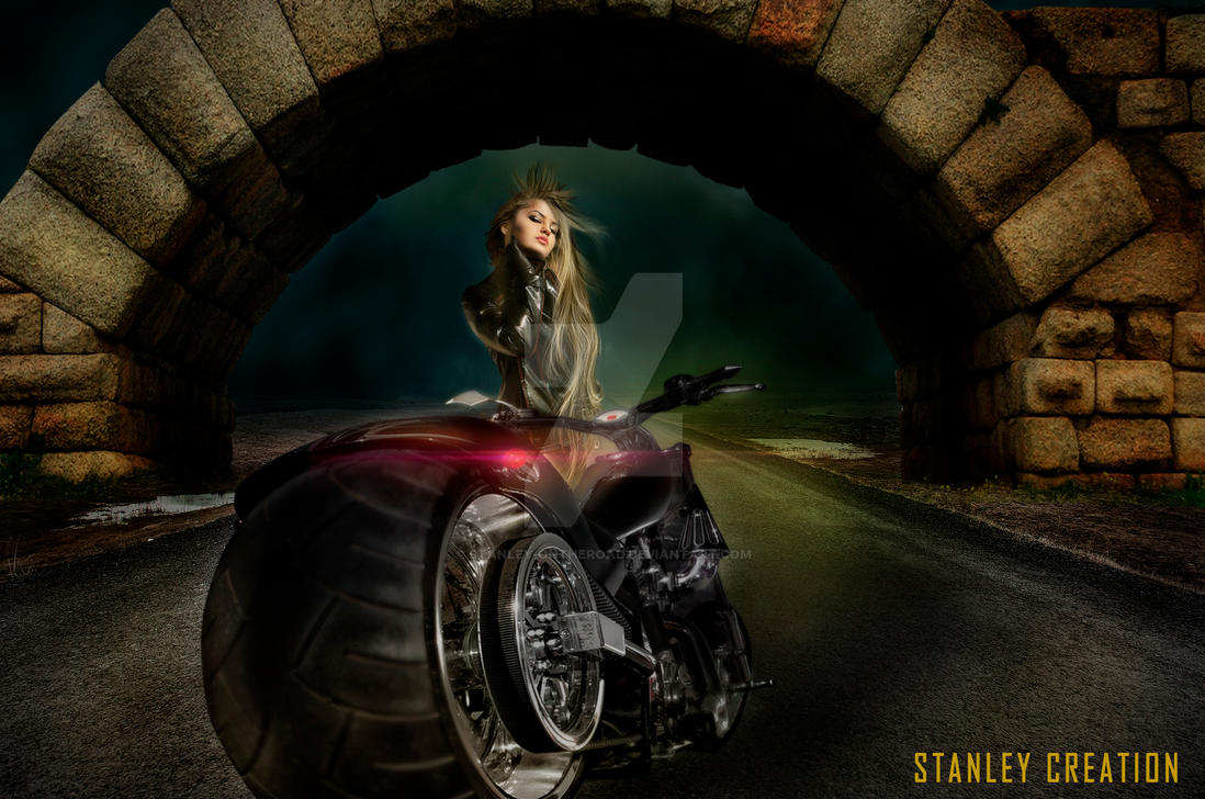 Lady Biker in the frontier by Stanley-ontheroad