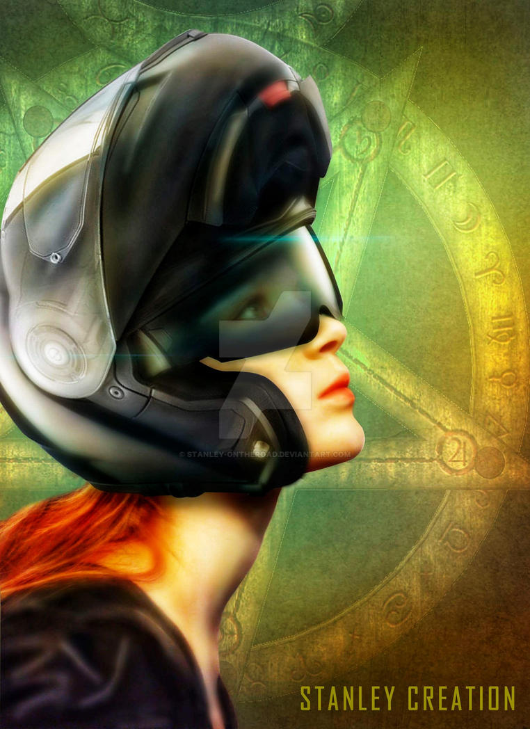 Lady biker with helmet by Stanley-ontheroad