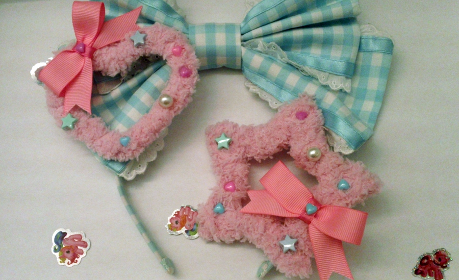... Fuzzy Star Heart Two Way Pink Hair Clip by Kreepy-Kawaii on DeviantArt