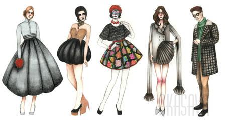 Various fashion costumes