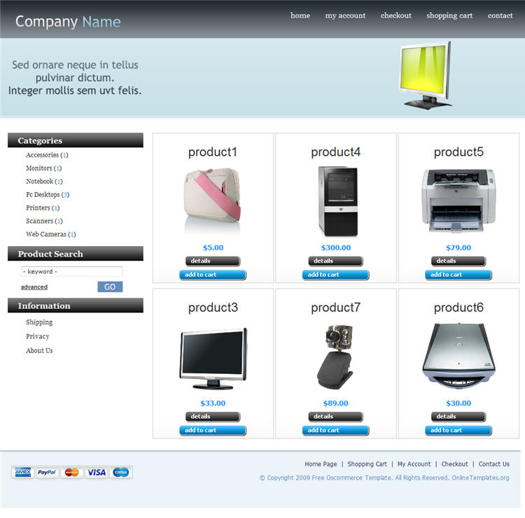 Oscommerce Template Free. download free oscommerce themes. list of ...