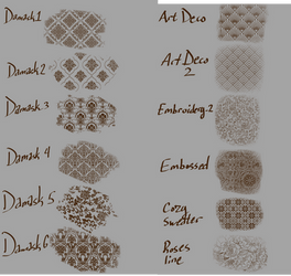 Damask + Assorted Cloth brushes Clip Studio Paint