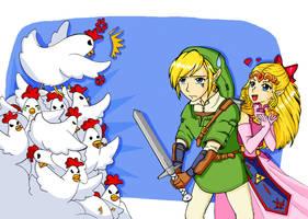 Link Vs Chicken by Naty-Ilustrada