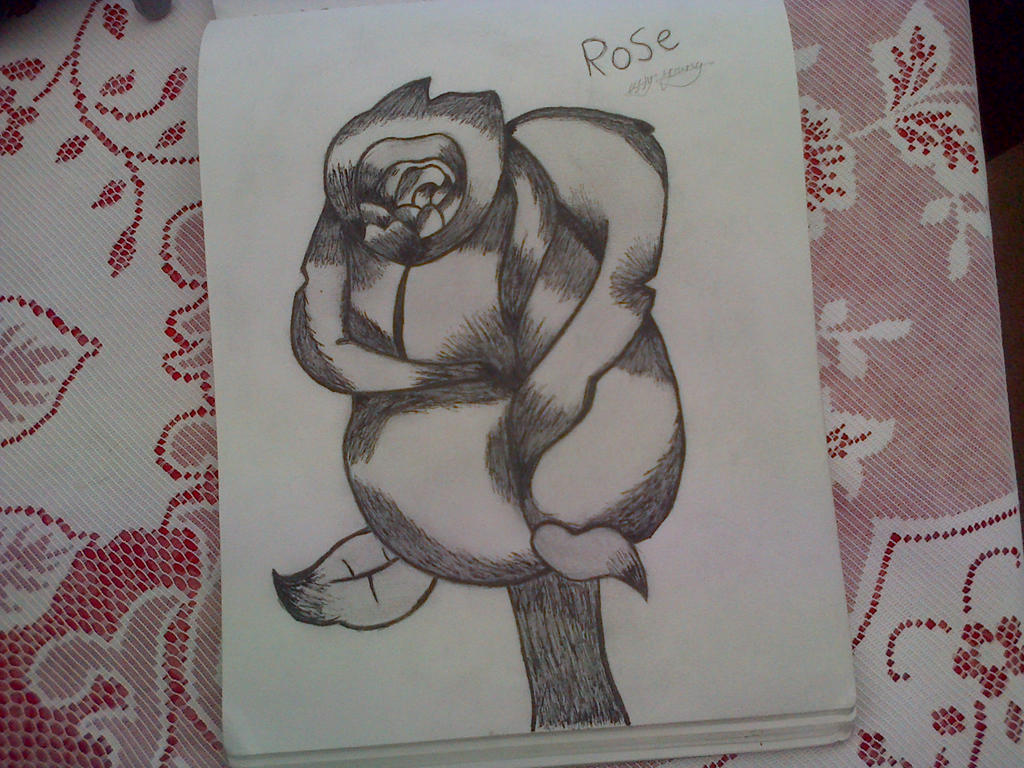 Drawing of a rose by epicbubble7
