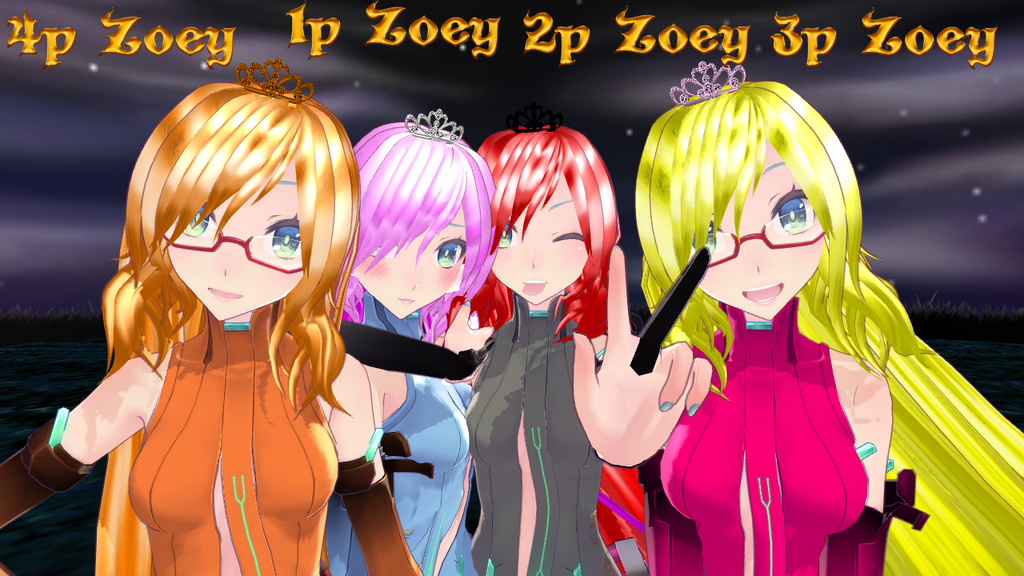 MMD 1p 2p 3p and 4p Zoey by epicbubble7