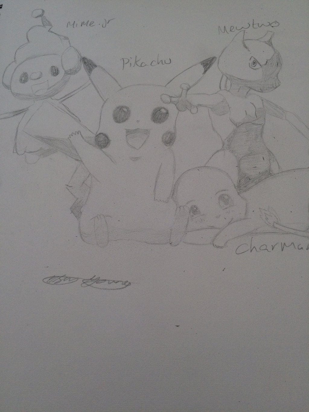 Mewtwo, pikachu, mime Jr and charmander by epicbubble7