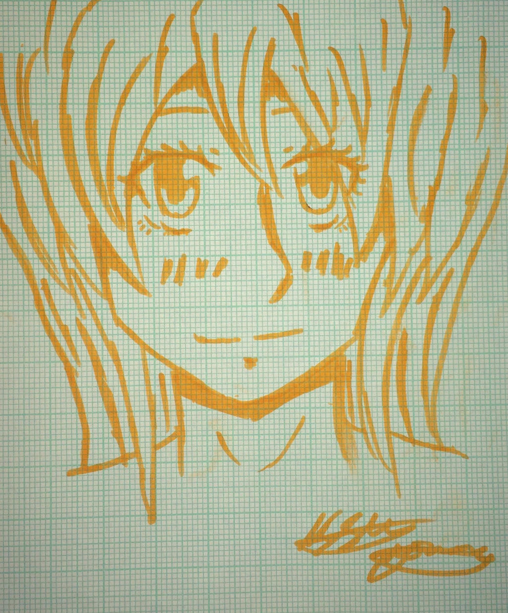 Free hand drawing of a girl by epicbubble7