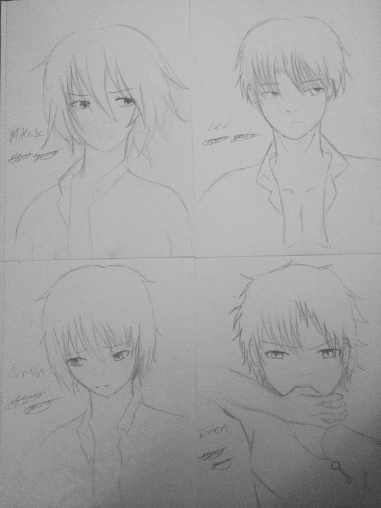 Mikasa, Levi, Armin and Eren WIP by epicbubble7