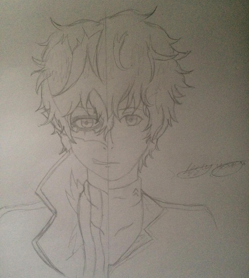 P5 protagonist WIP by epicbubble7