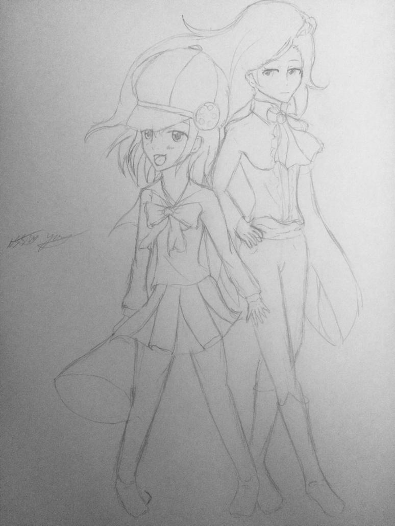 Hikari and Nagi Persona Q2 by epicbubble7