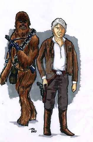 Han solo and chewi the force awakens by t-rex79