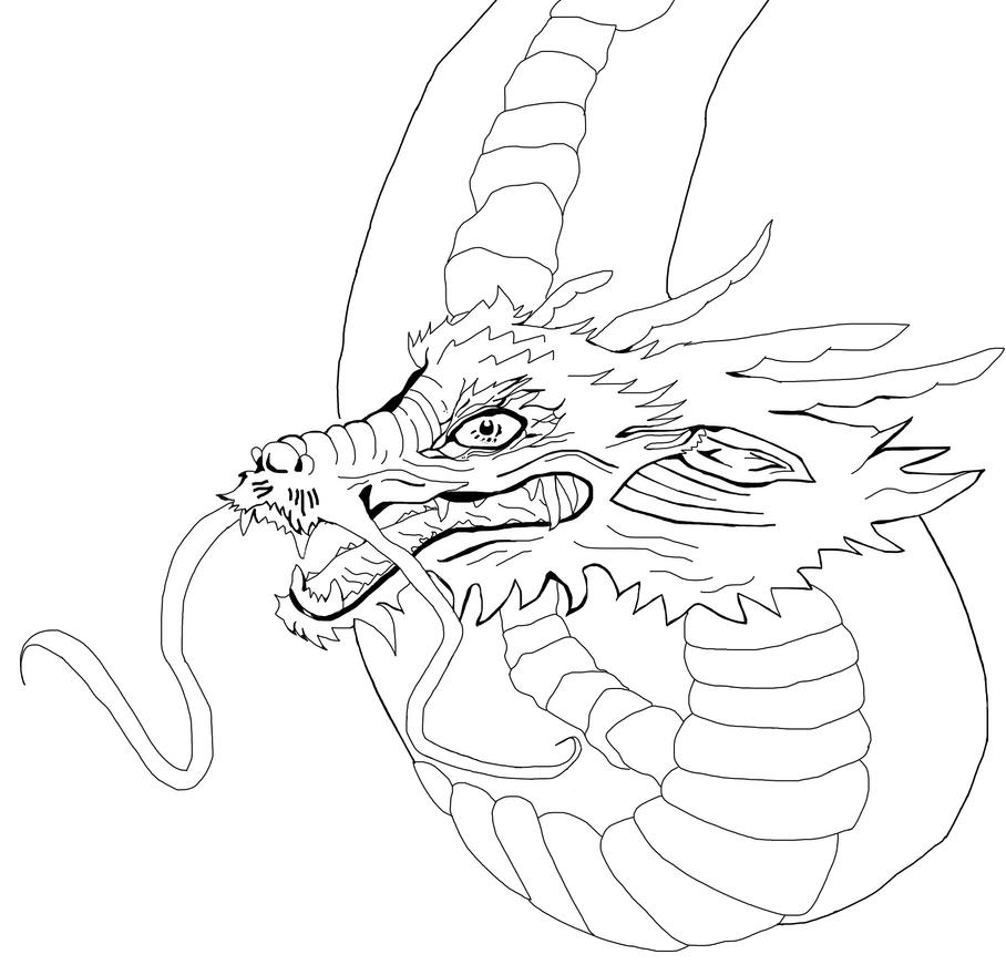 Line Drawing Dragon : Dragon line art by spiritblade on deviantart