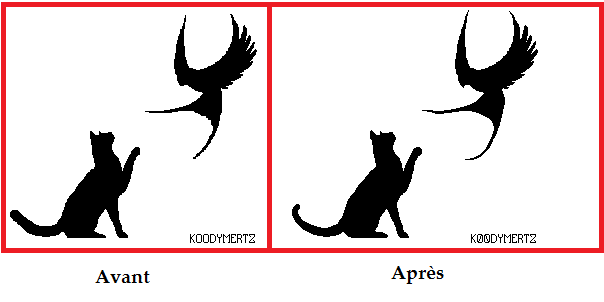 Cat With Bird (bis) by Koodymertz