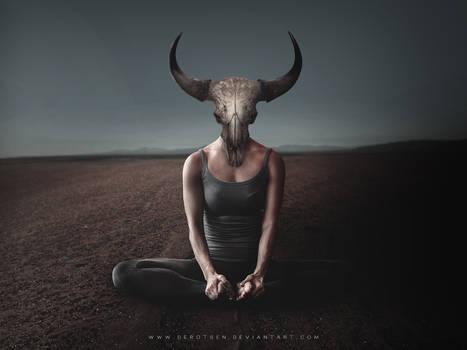 Yoga - Woman Bull Skull Wallpaper