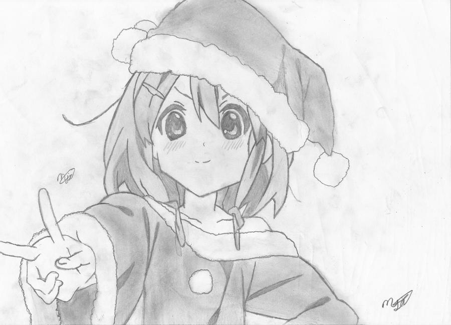 Line Art Hirasawa Yui : Yui hirasawa k on early chirstmas special by mikhell