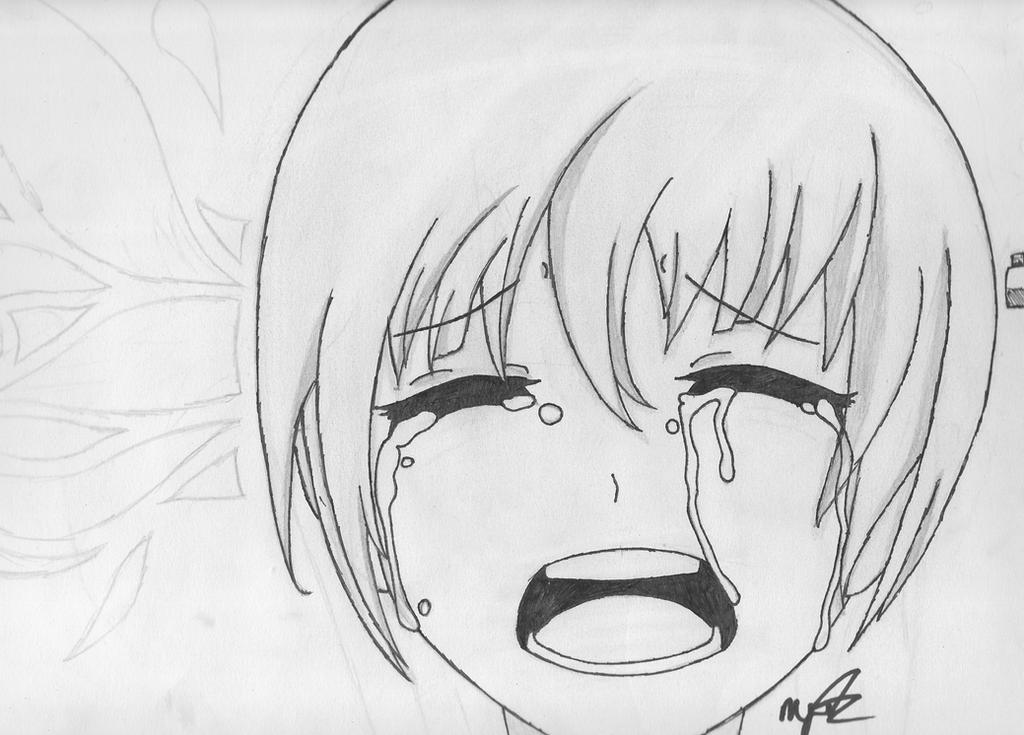 Anime girl crying sketch by mikhell1