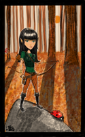 Elven Archer in the woods by tedbergeron