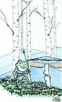 Teeny Tiny Toad hiking by tedbergeron