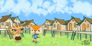 Tiger and Fox in the village
