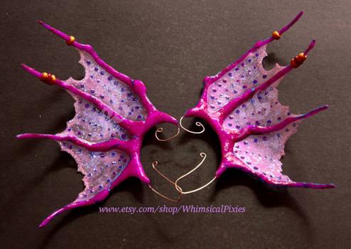Mermaid UV-reactive ear wings- against black card