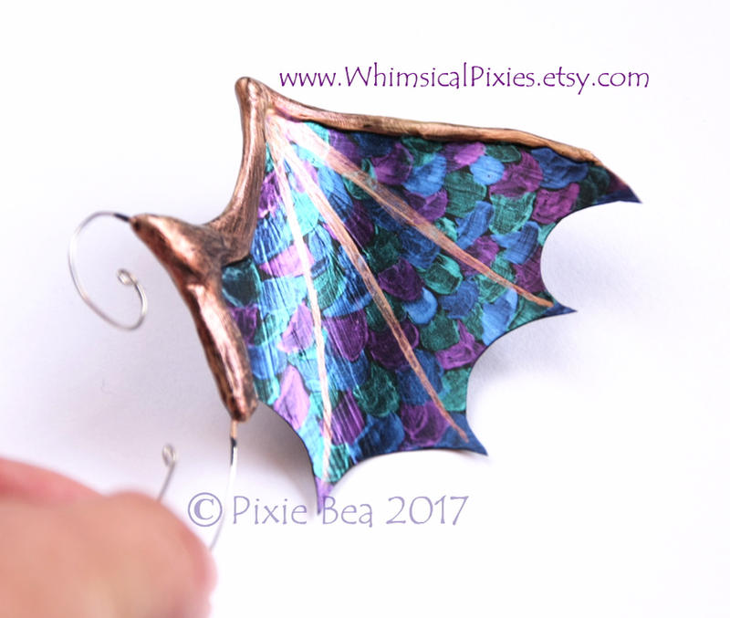 Dragon-Scaled Winged Ear Cuff, Ear Wings by WhimsicalPixies