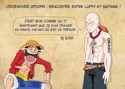 Fanart crossover Luffy-VS-SAITAMA