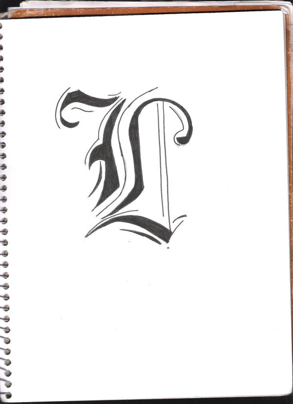 L In Fancy Old English Font By Exspanding Darkness