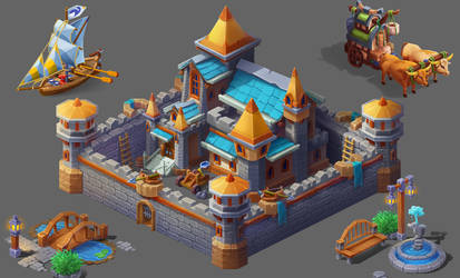 Castle town (casual, isometric, low poly)