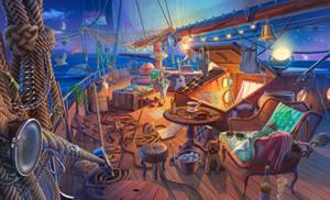 Stunning adventure hidden object scene, 2D art