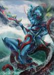 Merfolk Kiora - Master of the Depths, planeswalker by AAAGameArtStudio