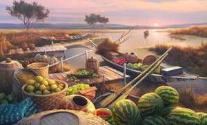 Village riverbank, 2d game scene for Junes Journey