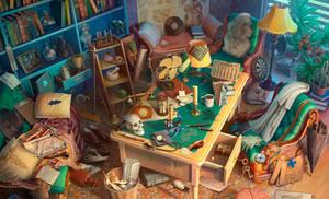 Nicky's Study, hidden objects game scene