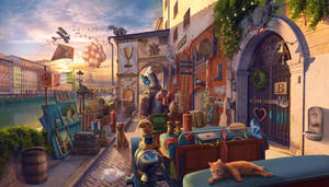 Ponte Vecchio, hidden object game scene, 2D art
