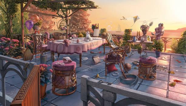 Patio, 2d game scene, hidden objects - June's Jour