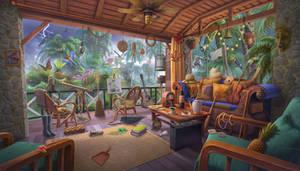 Cozy balcony leisure on a jungle villa