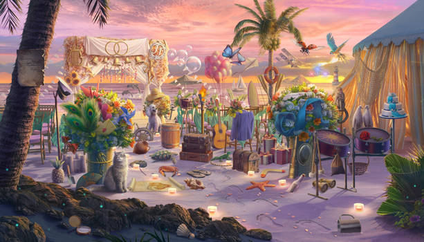 Oceanfront Wedding Ceremony, hidden object game sc