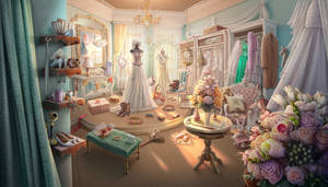 Dress Boutique, hidden object game scene