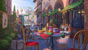 Florence outdoor cafe, hidden object game scene