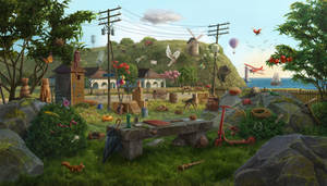 Landing strip, hidden objects game scene