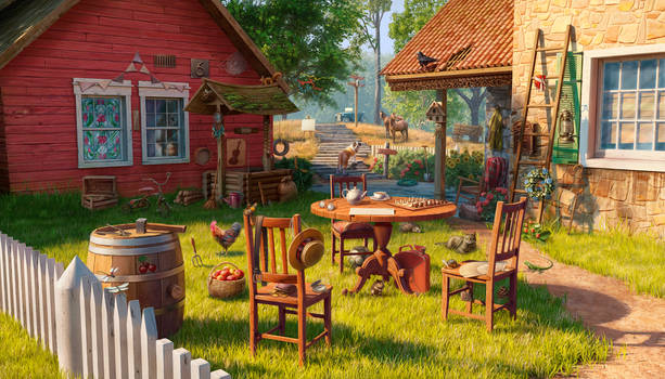 Country yard, hidden object game scene