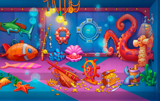 Underwater scene, casual mobile 2d
