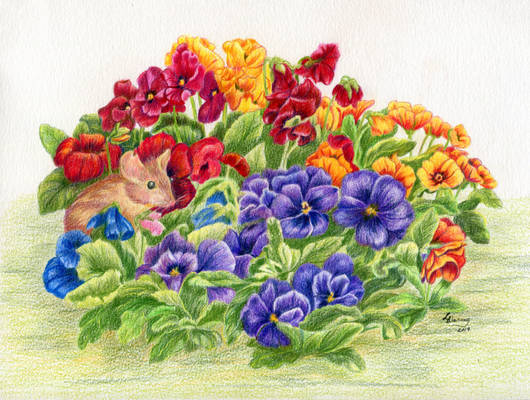 Mouse in the Pansies