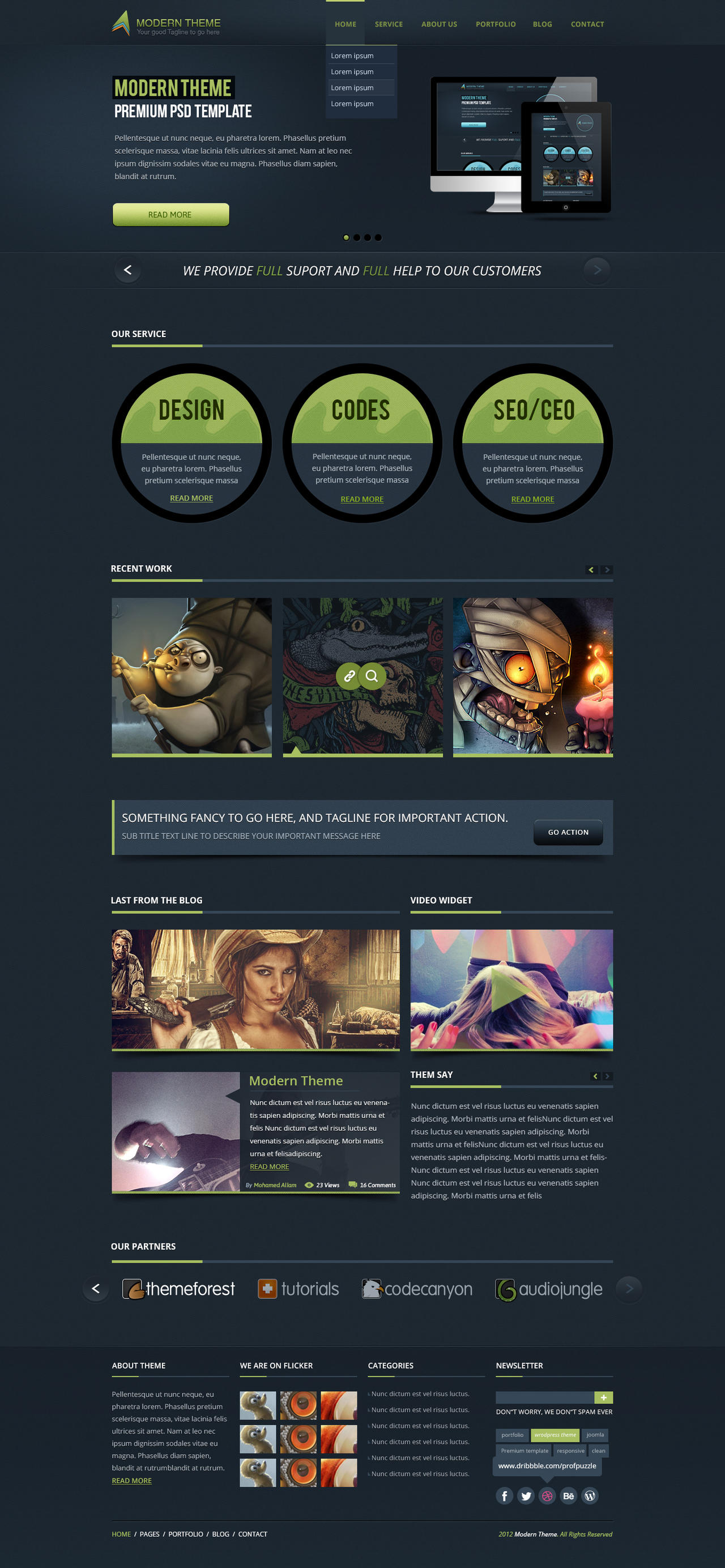Modern Theme: Responsive HTML5 Retina Template by gohawise