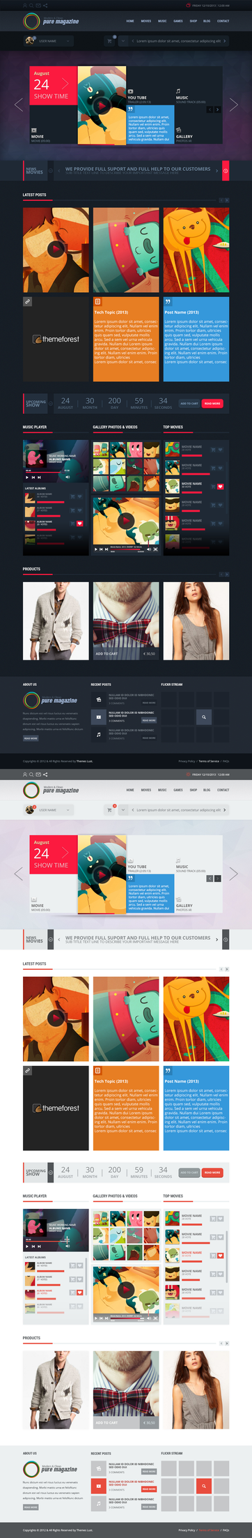 Pure Magazine:News Blog Shop Html5 Css3 Theme By by gohawise