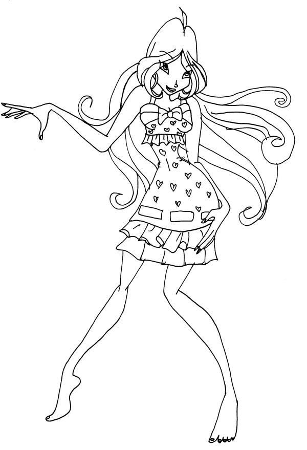 Flora for Winx club coloring pages flora