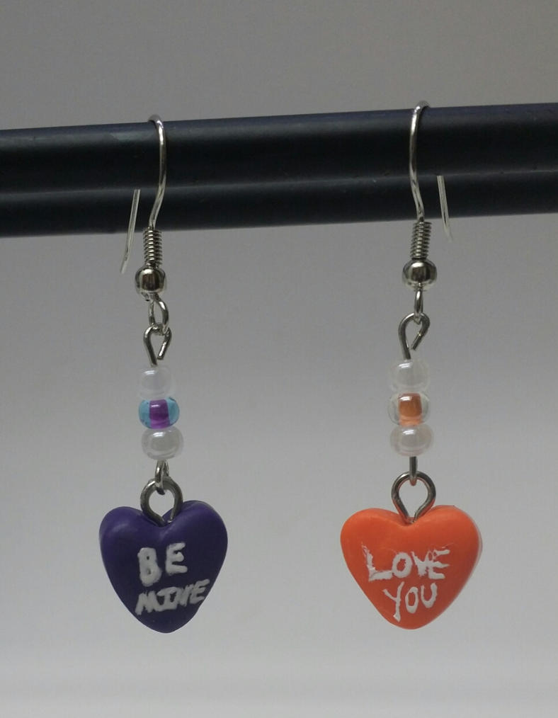 Valentine's Day Candy Heart Earrings by MadHouseTrinkets