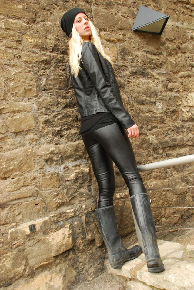 image Hot babes in leather put on tight pants and sexy boots tease