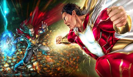 Shazam vs Thor by Aioras