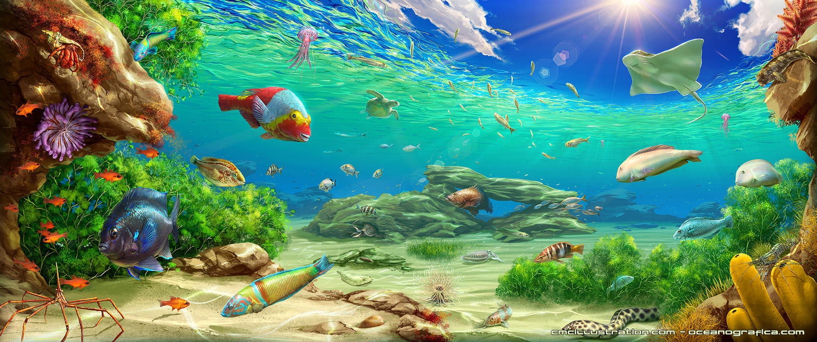 Underwater painting by aioras on deviantart for Fish scenery drawing